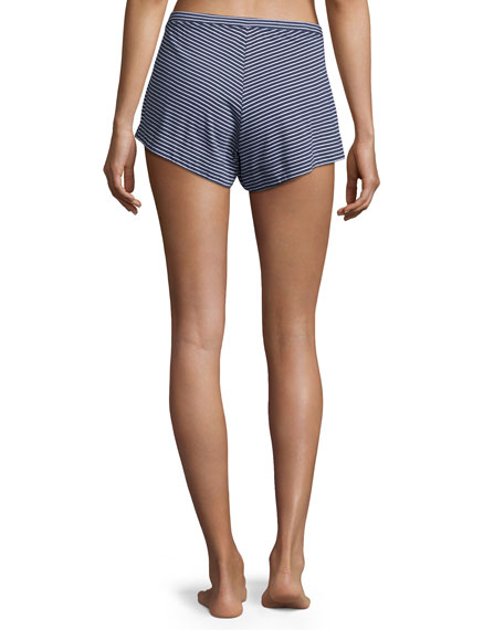 Striped Jersey Lounge Shorts, Blue/White