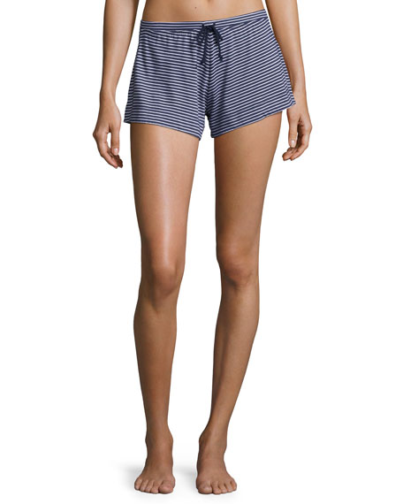 Skin Striped Jersey Lounge Shorts, Blue/White