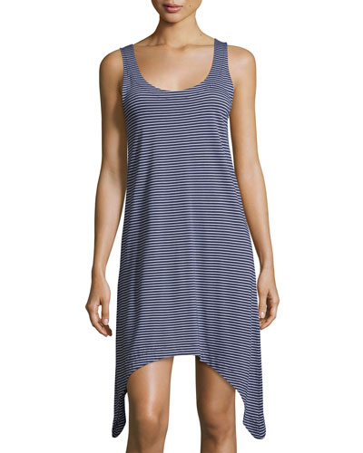 Striped Jersey Chemise, Blue/White