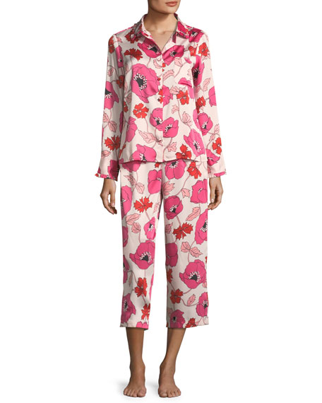 kate spade new york floral-print cropped pajama set