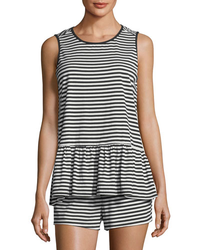 striped sleeveless short pajama set