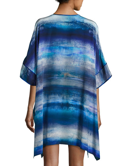 Blue Lagoon Short Silk Caftan, Blue Pattern