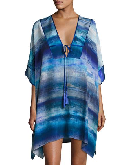 Josie Natori Blue Lagoon Short Silk Caftan, Blue
