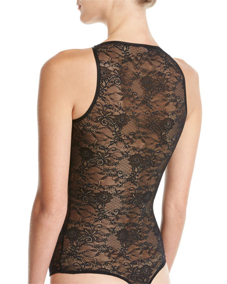 Harlow Lace Thong Bodysuit, Black