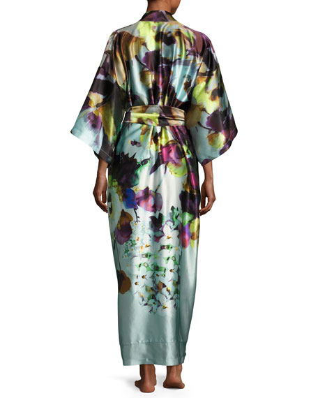 Dolce Vita Long Silk Robe, Multi Pattern