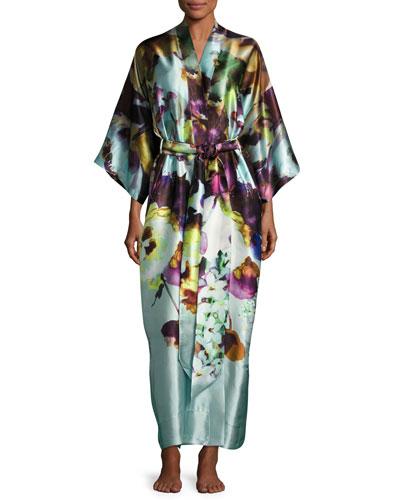 Dolce Vita Long Silk Robe, Multi Pattern