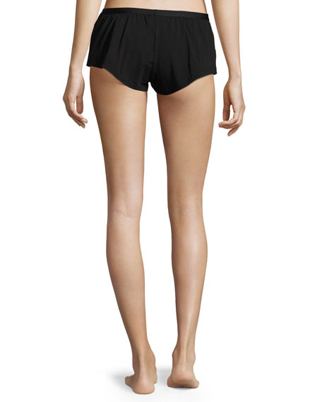 Bisou Lace-Inset Lounge Shorts, Black