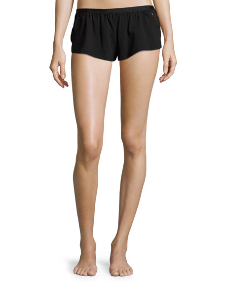 Cosabella Bisou Lace-Inset Lounge Shorts, Black