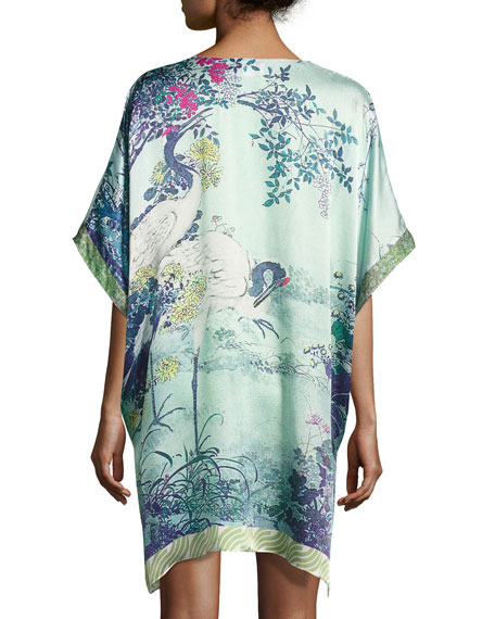 Gatsby Tunic Silk Sleep Shirt, Multi Pattern