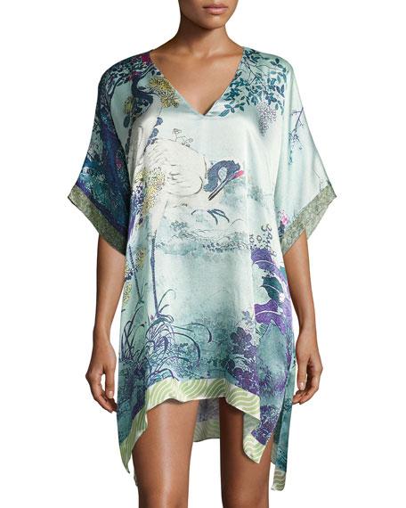 Christine Designs Gatsby Tunic Silk Sleep Shirt, Multi