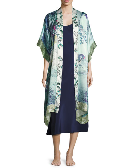 Christine Designs Gatsby Floral-Print Silk Long Robe, Multi