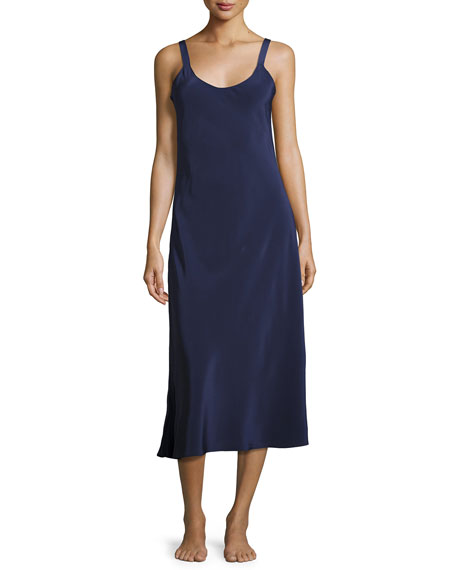 Christine Designs Silk-Crepe Long Nightgown, Dark Blue