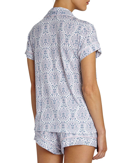 Timba Graphic-Print Short Pajama Set, Purple Pattern