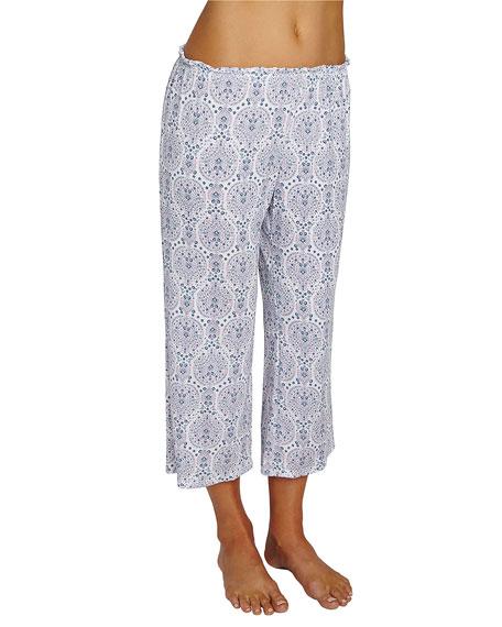 Eberjey Timba Graphic-Print Cropped Lounge Pants, Purple Pattern