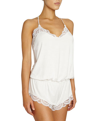 Marry Me Racerback Teddy Romper, Ivory
