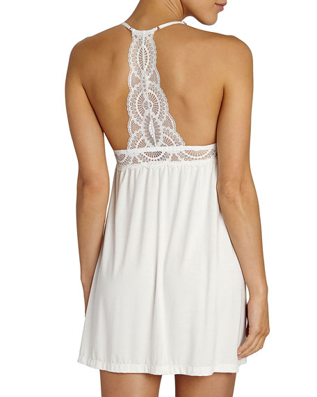 Marry Me Lace-Trim Chemise, Ivory