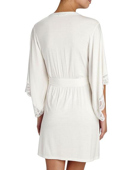 Marry Me Lace-Trim Kimono Robe, Ivory