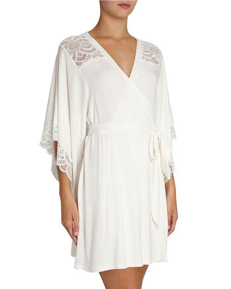 Eberjey Marry Me Lace-Trim Kimono Robe, Ivory