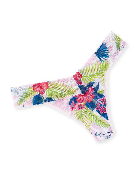 Hanky Panky Aloha Original-Rise Lace Thong, Pink Pattern