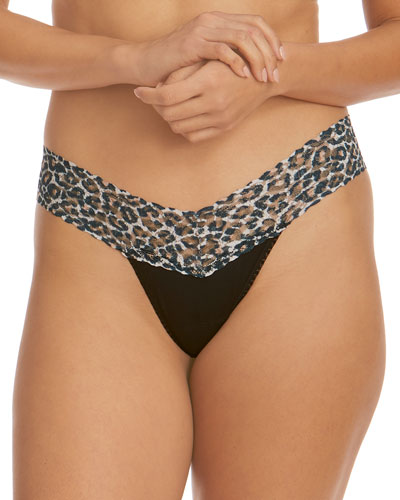 Lace-Trim Low-Rise Cotton Thong
