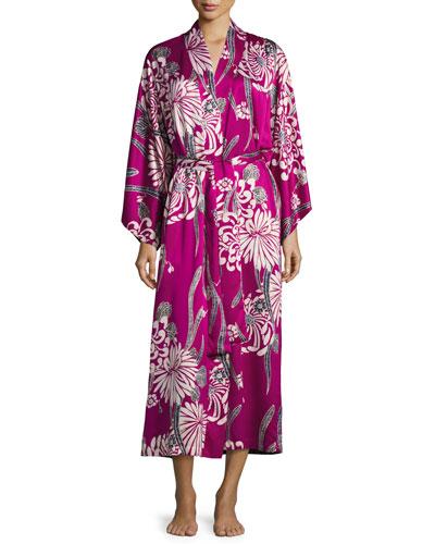 Aziome Floral-Print Long Robe, Purple Pattern