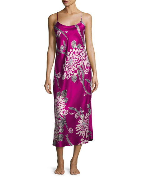Natori Aziome Long Satin Nightgown, Purple Pattern