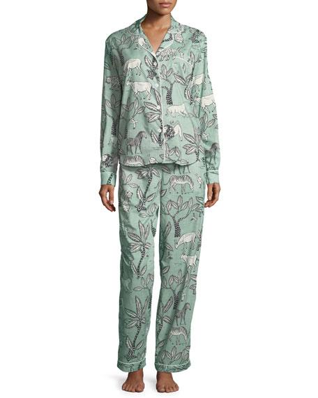 Desmond & Dempsey Safari-Print Classic Pajama Set