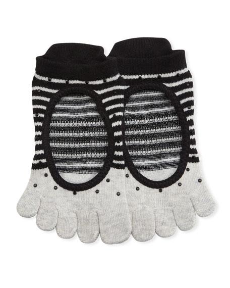 Ballerina Shimmy Full Grip Toe Socks, Gray-Black