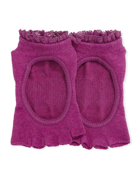 ToeSox Bella Sangria Grip Half Toe Athletic Socks,