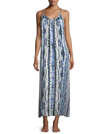 Tie-Dye Racerback Silk Long Nightgown