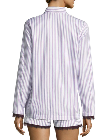 Pima Cotton Long-Sleeve Lounge Top, Purple Pattern