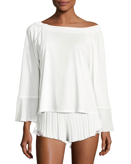 Cotton Jersey Gauze-Trim Lounge Top