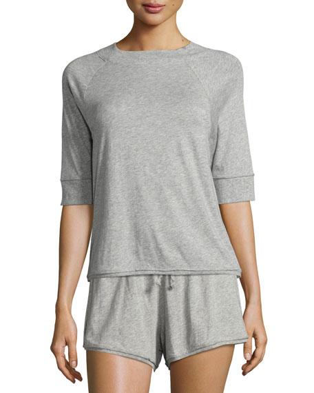 Half-Sleeve Cotton Jersey Crop Top