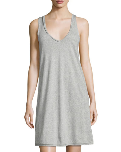 Sleeveless Jersey Nightgown, Light Gray