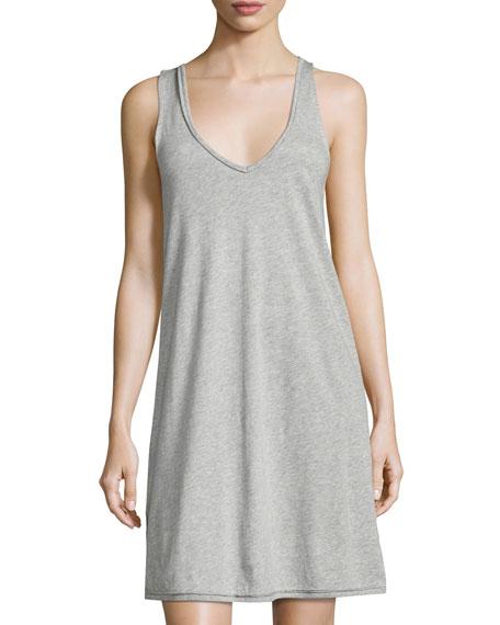 Sleeveless Jersey Nightgown, Light Gray