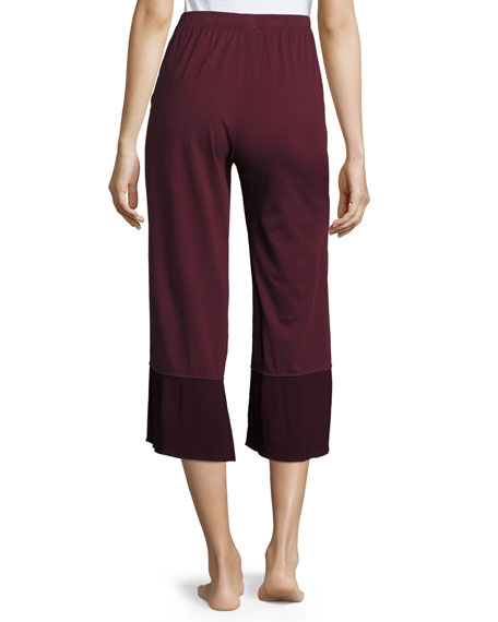 Gauze-Trim Jersey Crop Lounge Pants, Wine
