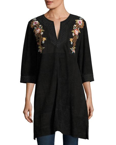Esmerelda Suede Kaftan Tunic W/ Embroidery