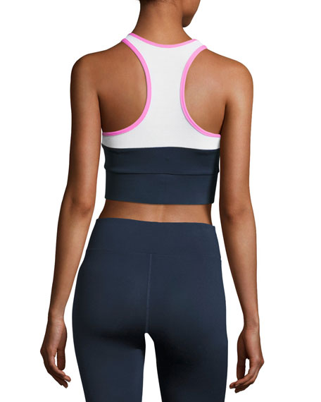 Tread Colorblock Sports Bra, Blue/Pink