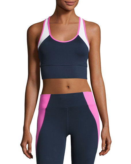 Heroine Sport Tread Colorblock Sports Bra, Blue/Pink