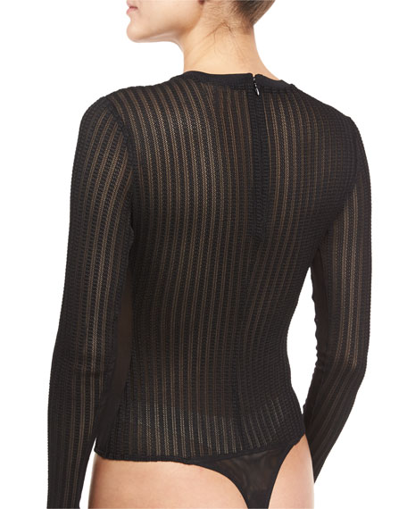 Paige Crewneck Long-Sleeve Sheer Mesh Bodysuit