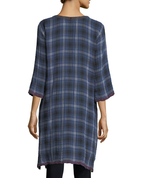 Bonnie 3/4-Sleeve Embroidered Plaid Short Caftan