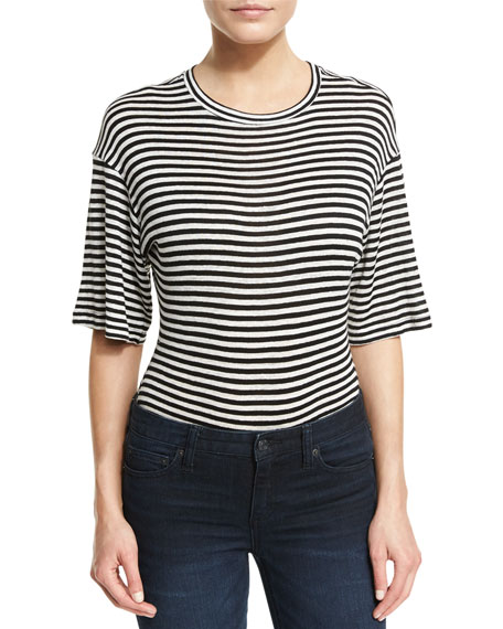Kendall + Kylie Half-Sleeve Striped Tee Bodysuit