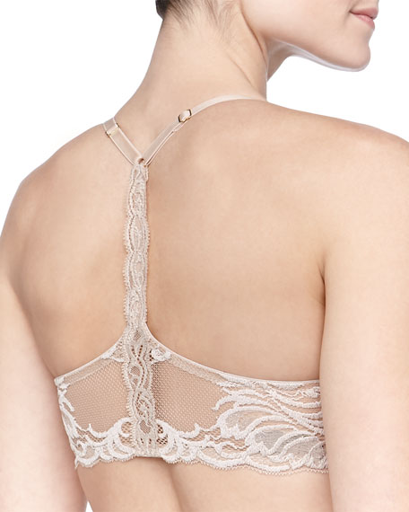 Feathers Front-Close Racerback Lace Bra