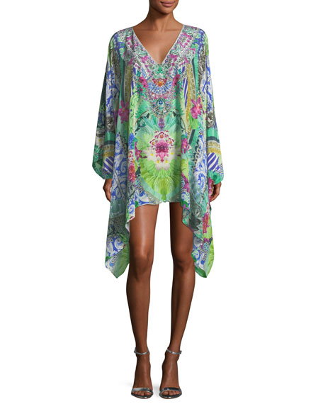 Split-Neck Printed Embellished Kaftan Coverup, One Size