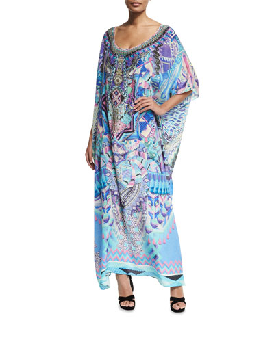 Round-Neck Embellished Printed Silk Kaftan Coverup