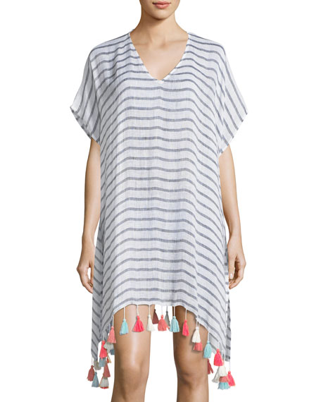 Seafolly V-Neck Striped Linen Tassel Coverup Kaftan