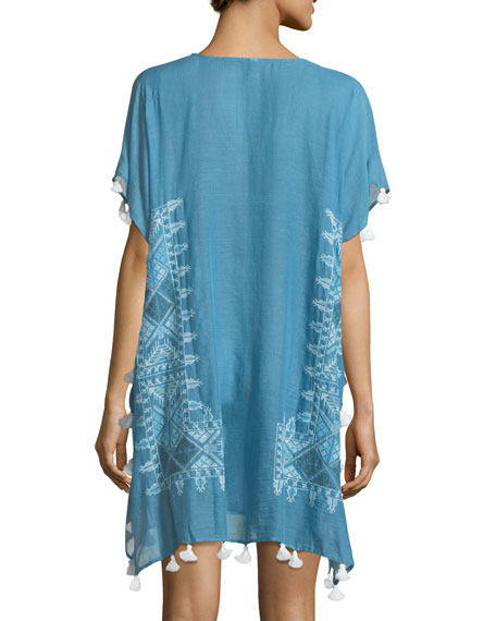 Cross Stitch Embroidered Kaftan Coverup