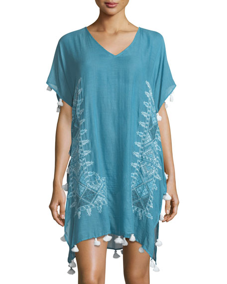Seafolly Cross Stitch Embroidered Kaftan Coverup, One Size
