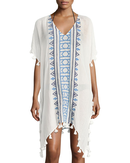 Seafolly V-Neck Embroidered Jacquard Kaftan Coverup W/ Tassels