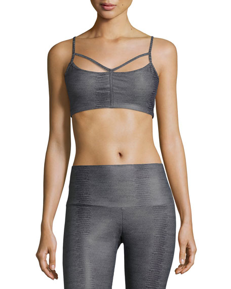 Onzie Bound Strappy Sports Bra, Charcoal Snake